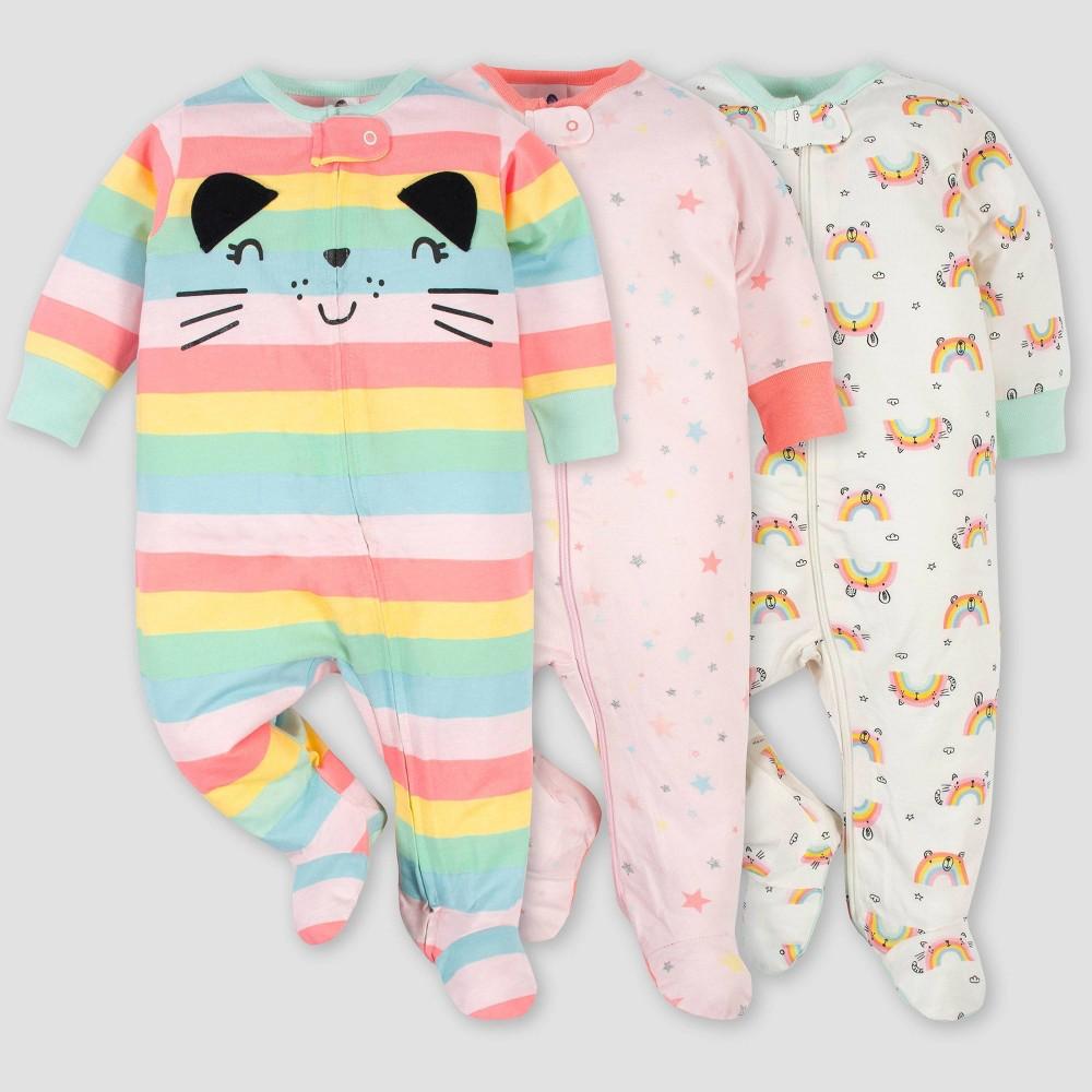 Gerber Baby Girls 39 3pk Rainbow Zip Front Sleep N 39 Play Pink Cream Green 3 6m