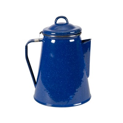 Stansport Enamel Coffee Pot 8 Cup Percolator With Basket Blue