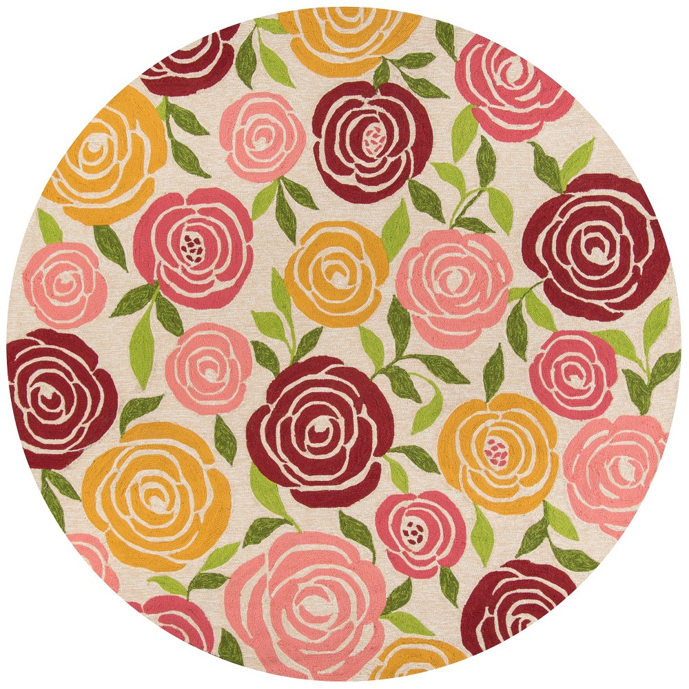 9'X9' Floral Hooked Round Area Rug - Momeni, Green