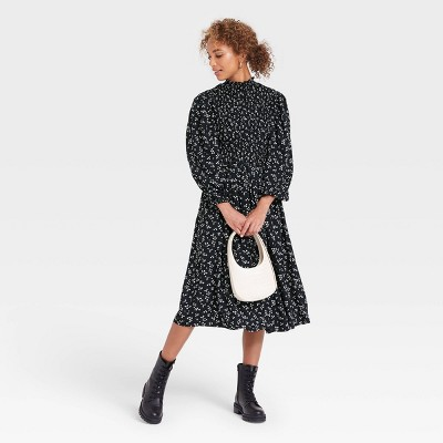 Women's Long Sleeve Smocked Bodice Dress - A New Day™