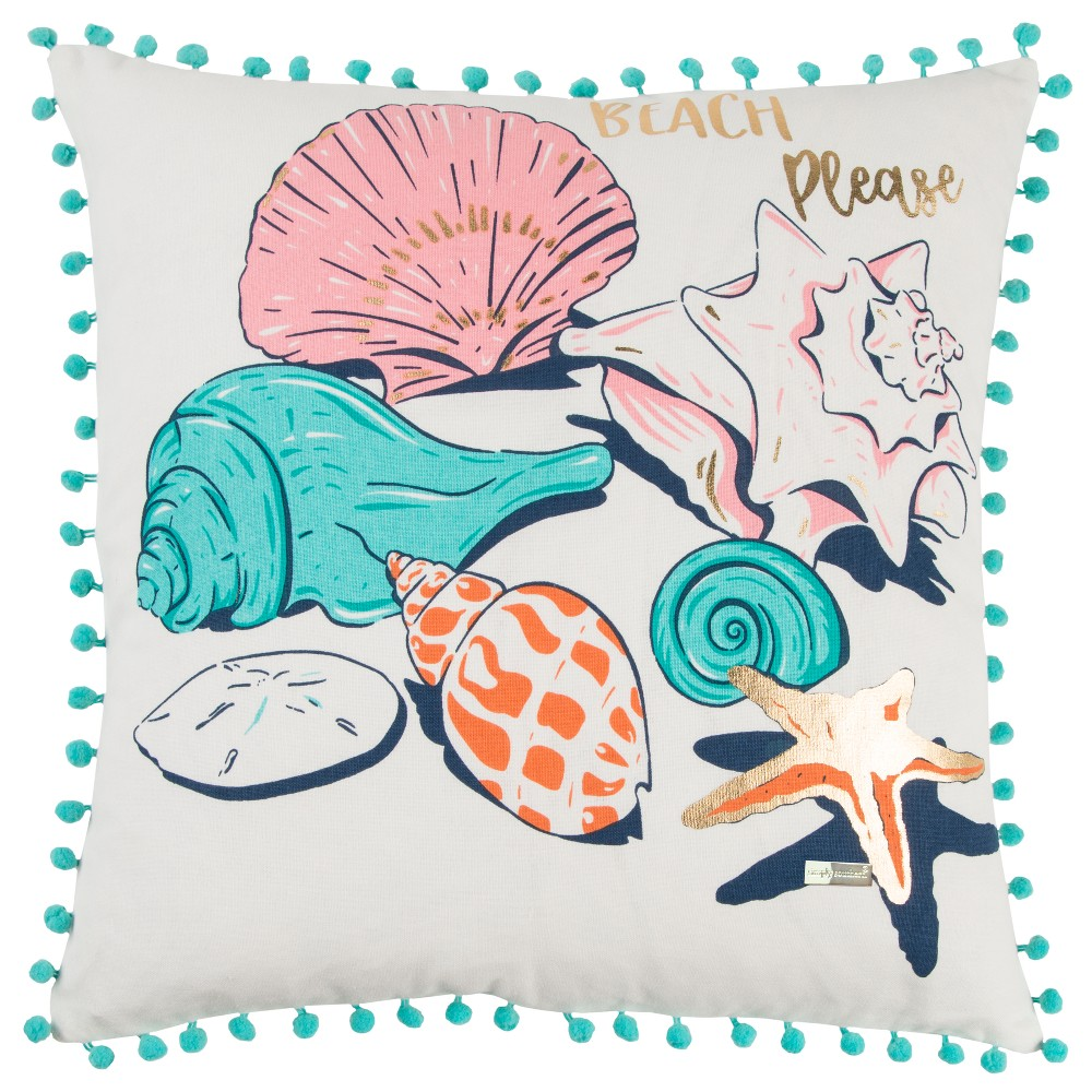 18 34 X18 34 Sea Shells Square Throw Pillow Blue Simply Southern