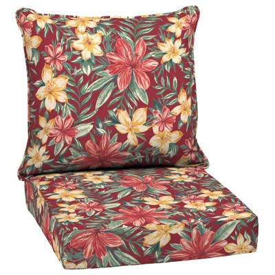 Clarissa Tropical Deep Seat Outdoor Cushion Set Ruby - Arden Selections