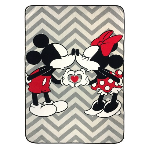 4700cd62fec Disney Mickey Mouse & Minnie Mouse Twin Bed Blanket Gray/Black : Target