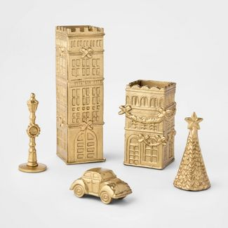 5pc Brass Cityscape Scenery Set Gold - Threshold™