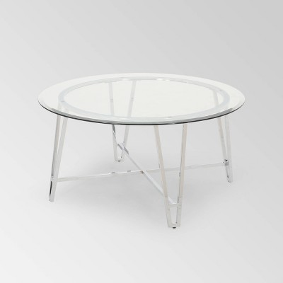 Arva Modern Iron Coffee Table Silver - Christopher Knight Home