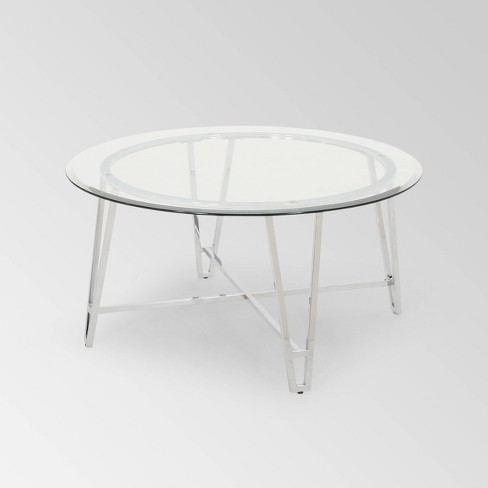Arva Modern Iron Coffee Table Silver - Christopher Knight Home - image 1 of 4