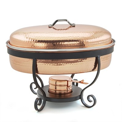 Old Dutch 6qt Stainless Steel Hammered Oval Chafing Dish Copper
