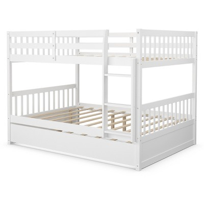 Costway Full over Full Bunk Bed Platform Wood Bed w/ Trundle & Ladder Rail Brown/White
