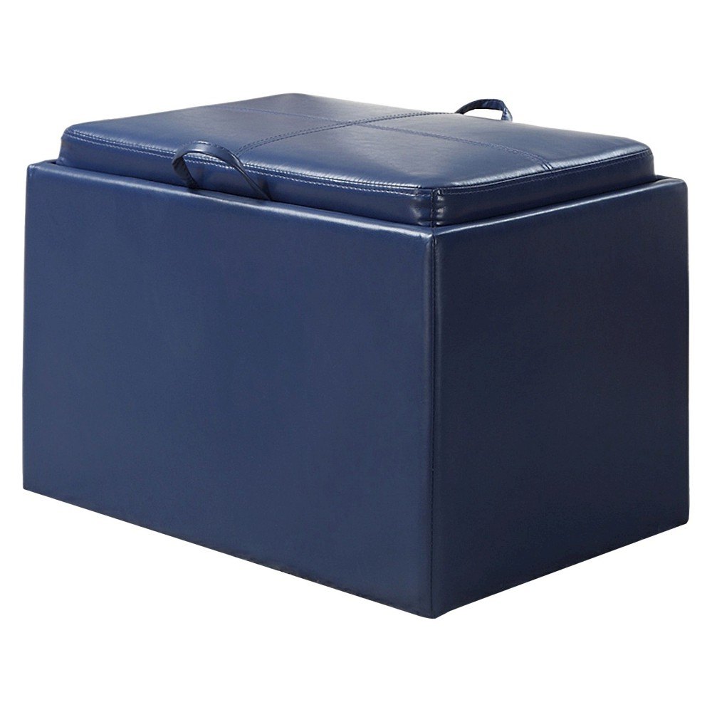 Image of Accent Storage Ottoman - Blue
