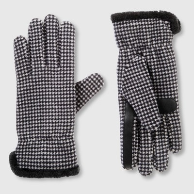 Isotoner Women's Recycled Fleece Hounds Tooth Gloves - Black
