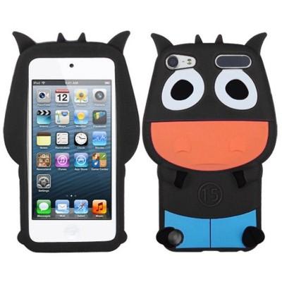 MYBAT For Apple iPod Touch 5th Gen/6th Gen Black Light Blue Cow Soft Rubber Case Cover