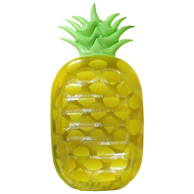 """Pool Central 75"""" Inflatable Jumbo Pineapple 1-Person Swimming Pool Mattress - Yellow/Green"""