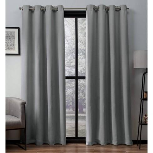 Heath Textured Linen Woven Room Darkening Grommet Top Window Curtain