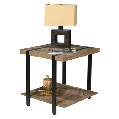 Bourbon Foundry End Table Wood and Inset Black Steel Oak - OneSpace