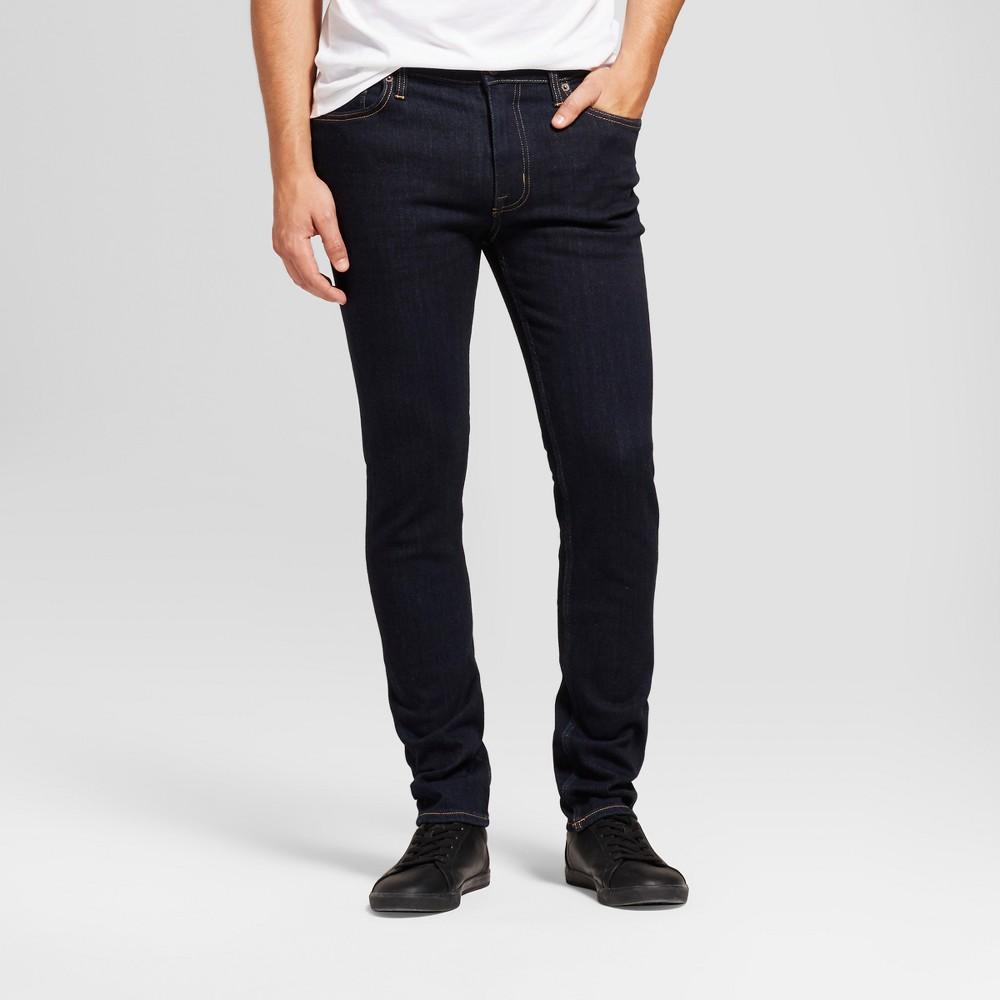 Men's Skinny Fit Jeans - Goodfellow & Co Dark Rinse Wash 32x30, Blue