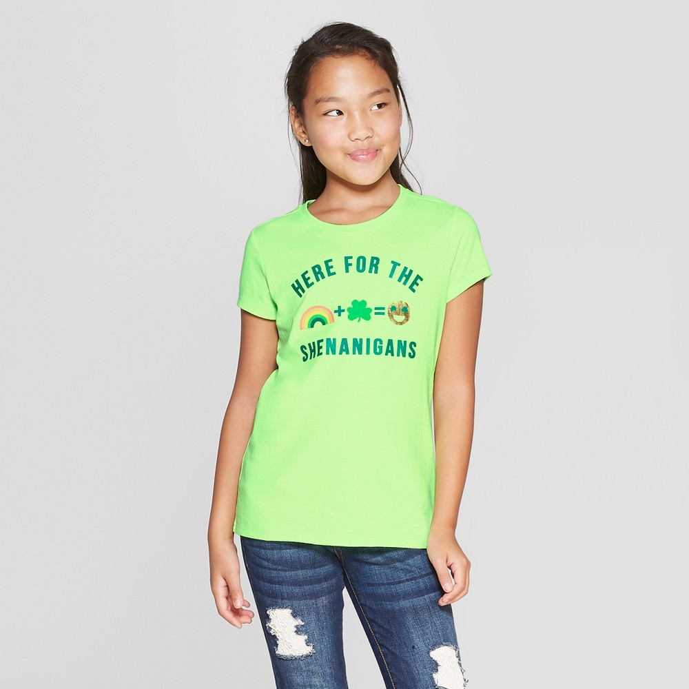 Girls' Here for Shenanigans Short Sleeve T-Shirt - Cat & Jack Green M