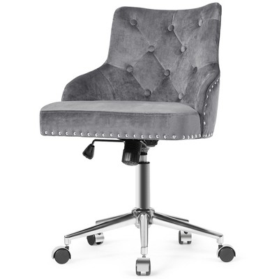 Costway Velvet Office Chair Tufted Upholstered Swivel Computer Desk Chair w/ Nailed Trim