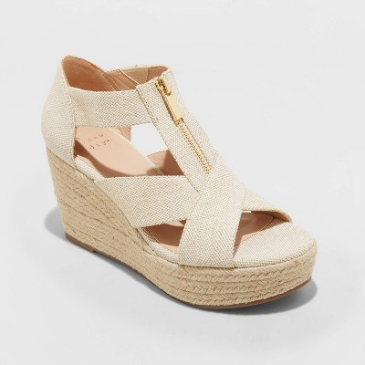 Women's Carrigan Front Zipper Espadrille Wedge Sandals - A New Day™
