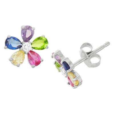 1.31 CT. T.W. Children's Multi Color Flower Cubic Zirconia Earrings In Sterling Silver