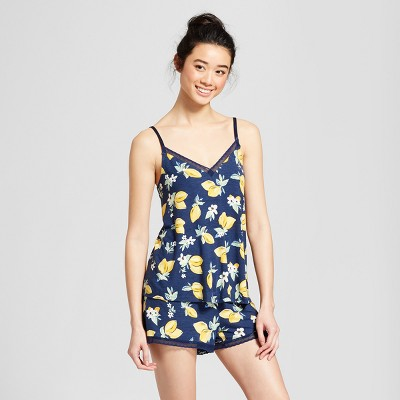 Women's Total Comfort Tank and Shorts Pajama Set - Gilligan & O'Malley™ Navy/Lemon M