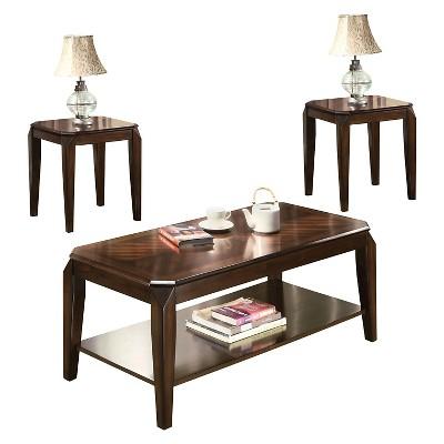 Charmant 3 Piece Docila Pack Coffee End Table Set Walnut   ACME