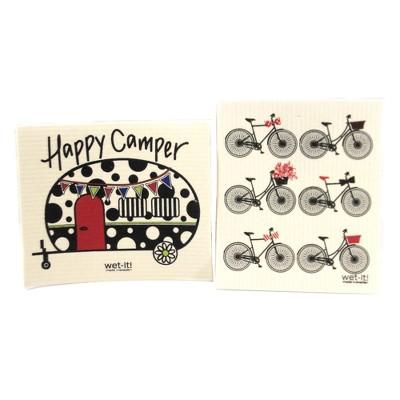 "Swedish Dish Cloth 7.75"" Happy Camper /Bike Set Cleaning Cloth Vacation  -  Dish Cloth"