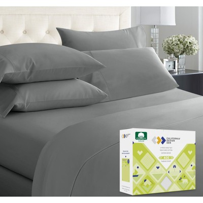 Softest 400 Thread Count | 100% Cotton 6 Pcs with 4 Pillowcases Sheets Set | Cooling Bed Sheets by California Design Den