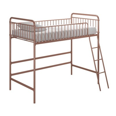 Twin Kaila Metal Loft Bed Rose Gold - Room & Joy
