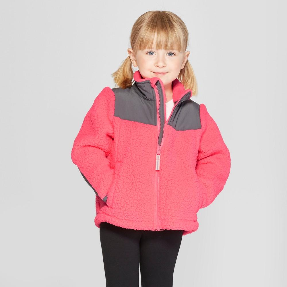 Toddler Girls' Zip-Up Fleece Jacket - Cat & Jack Pink 12M