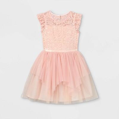 Girls' Sequin Lace Tulle Dress - Cat & Jack™ Blush Pink