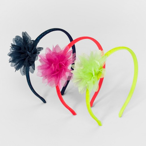 Girls' 3pk Flower Bow Headbands - Cat & Jack™ - image 1 of 1