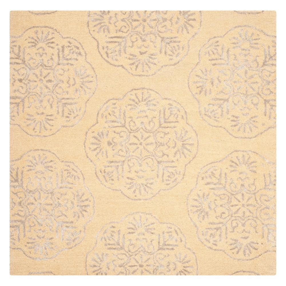 6'X6' Medallion Square Area Rug Beige/Silver - Safavieh