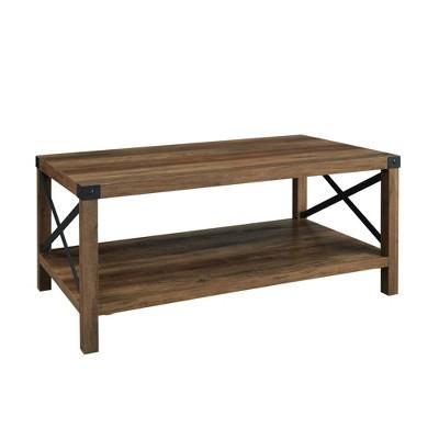 "40"" Rustic Farmhouse X Side Coffee Table Rustic Oak - Saracina Home"