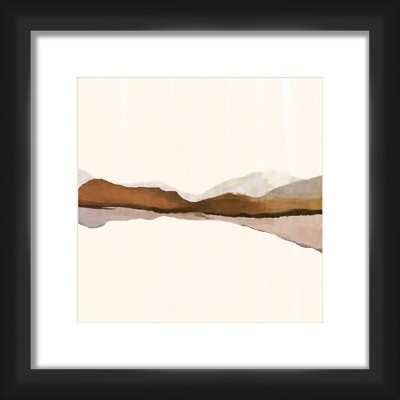 """13"""" x 13"""" Matted to 2"""" Angora Horizon Picture Framed Black - PTM Images"""