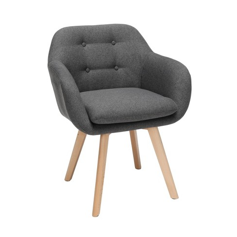 Strange Set Of 2 Tufted Fabric Mid Century Modern Accent Chair With Arms Dining Chair Solid Beechwood Legs Dark Gray Ofm Machost Co Dining Chair Design Ideas Machostcouk