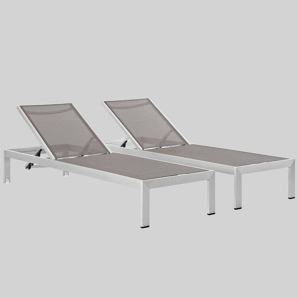 Shore 2ct Outdoor Patio Aluminum Chaise Gray Modway
