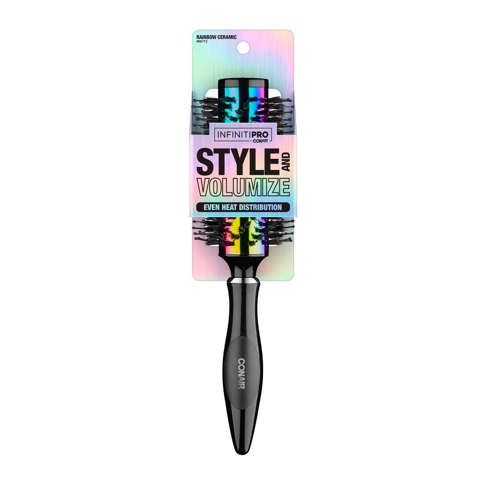 Conair Rainbow Ceramic Spiral Porcupine Round Hair Brush, Multi-Colored
