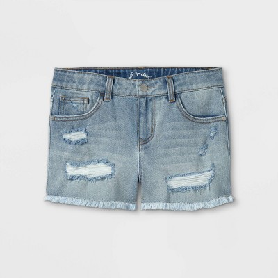 Girls' Raw Edge Jean Shorts - art class™