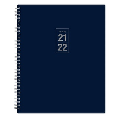 "2021-22 Academic Refillable Planner 8.5"" x 11"" Flexible Plastic Cover Wirebound Weekly/Monthly Solid Navy - Blue Sky"