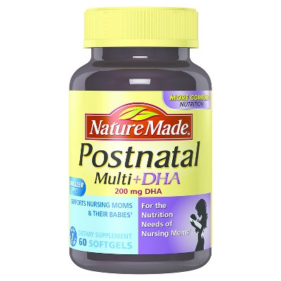 Nature Made Postnatal Multivitamin & DHA Dietary Supplement Softgels - 60ct