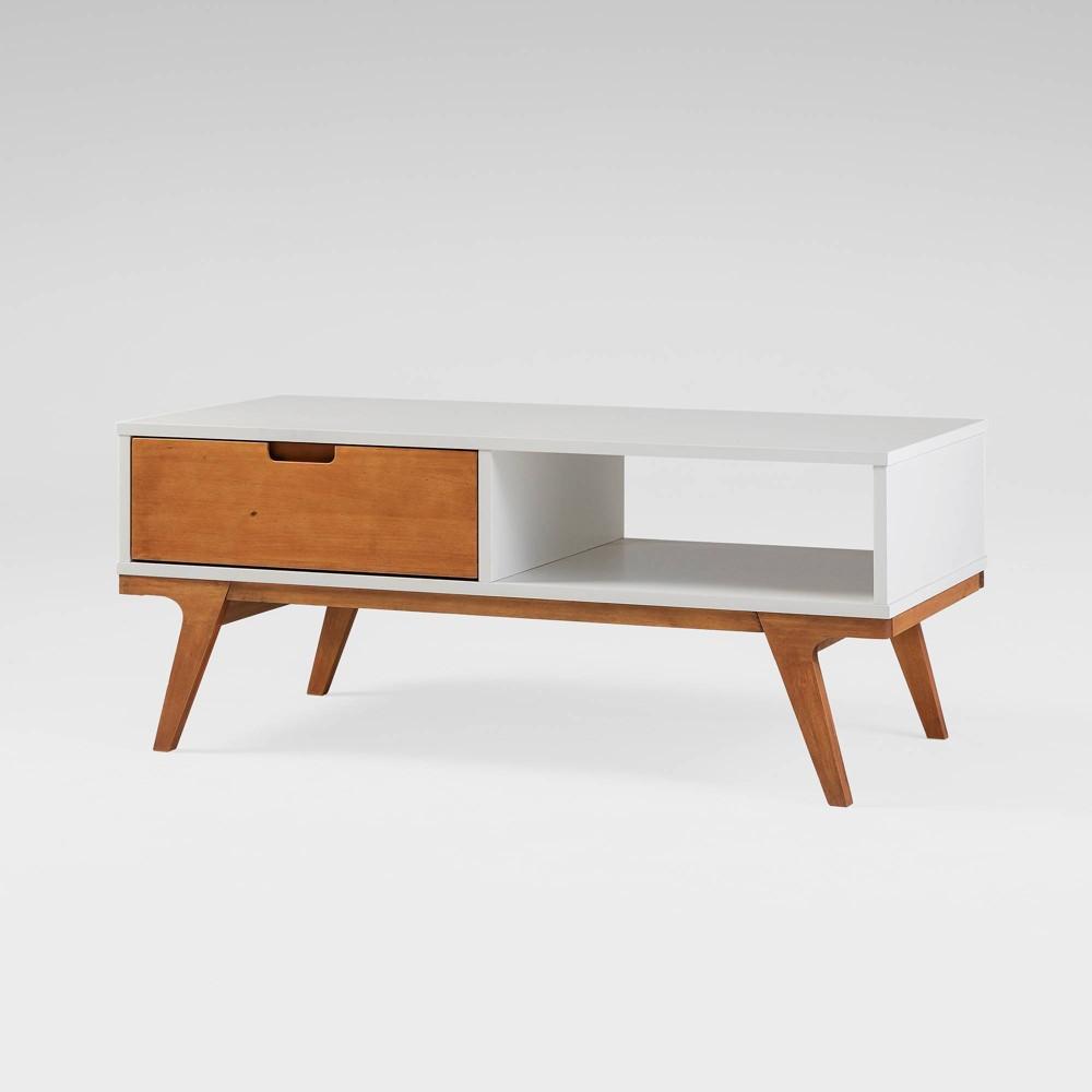 Trendy Wood Bridge Leg Boho Coffee Table White Saracina Home
