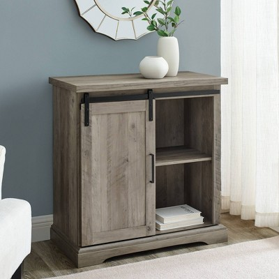 Tertia Transitional Accent Cabinet with Sliding Glass Door Gray Wash - Saracina Home