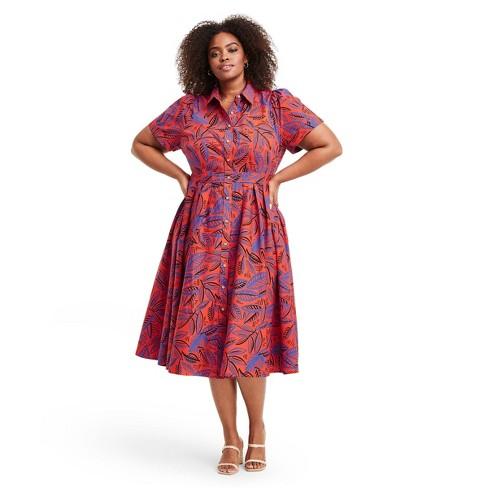 Plus Size Tropical Leaf Short SleeveShirtdress - ALEXIS for Target Orange/Blue 1X