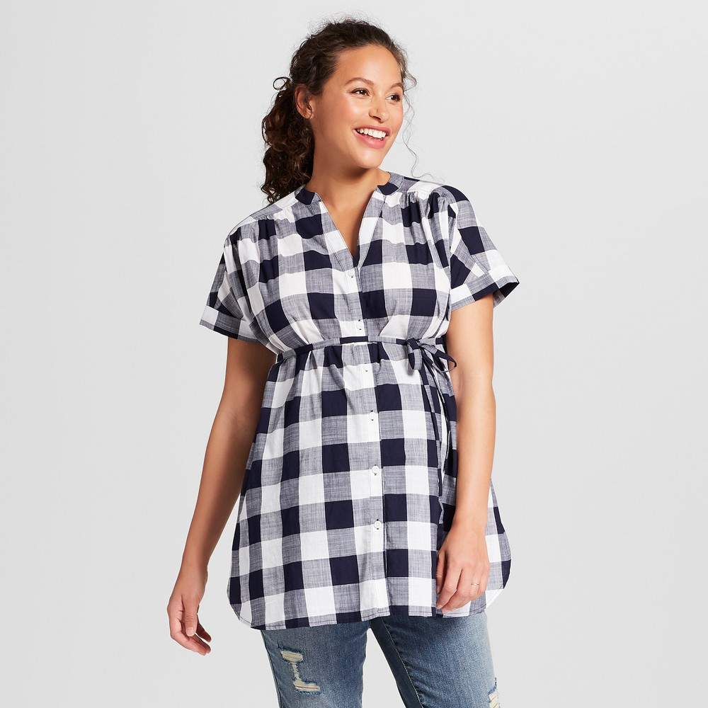 Vintage Style Maternity Clothes Maternity Gingham Dolman Short Sleeve Button Down Top - Isabel Maternity by Ingrid  Isabel Navy Blue Xxl Infant Girls $8.74 AT vintagedancer.com