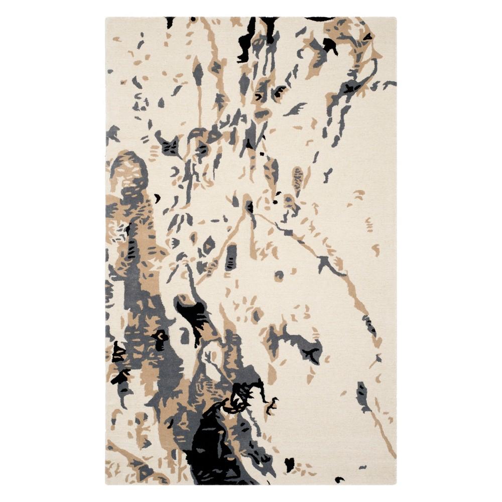5'X8' Splatter Area Rug Ivory - Safavieh, White Gray
