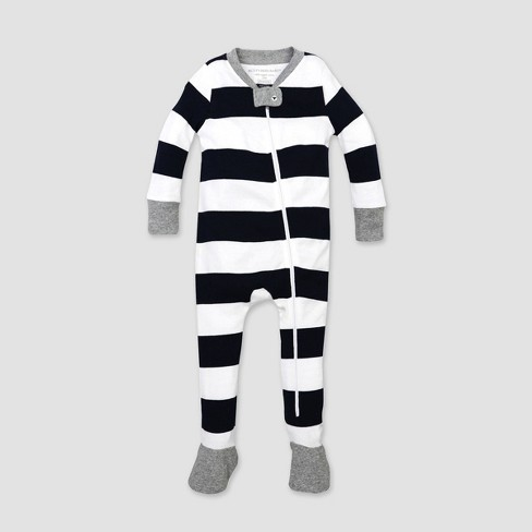 Burt's Bees Baby® Toddler Rugby Stripe Organic Cotton Footed Pajama - Blue - image 1 of 1