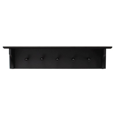 Foster Wall Shelf with Pegs - Black