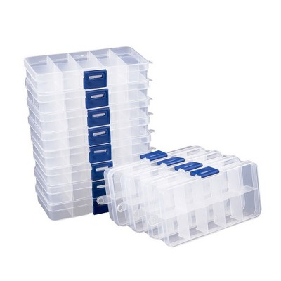 Juvale Clear Jewelry Box 12-Pack Plastic Bead Storage Container Earrings Organizer