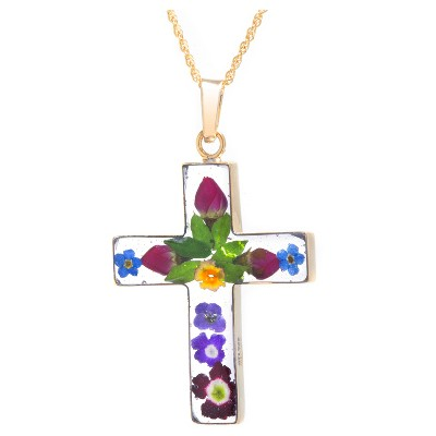"""Women's Gold over Sterling Silver Pressed Flowers Cross Pendant (18"""")"""