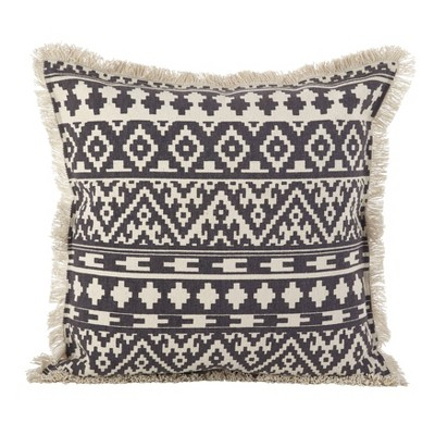 Down Filled Fringed Aztec Pillow Gray - Saro Lifestyle